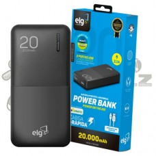 Carregador Portátil Power Bank Slim Preto 20.000mAh ELG PB200BK