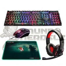 Combo Gamer 4x1 Headset, Mouse, Teclado, Mousepad Elg Striker CGSR41