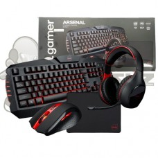 Combo Kit Gamer 4x1 Teclado + Mouse + Mousepad + Headset Dazz Arsenal