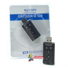 Placa de Som Usb Adaptador Áudio 7.1 para P2 Pc Notebook Exbom USOM-10
